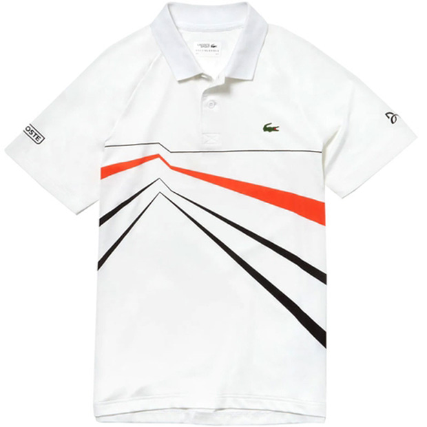 c6cf3611 [라코스테 남성용 노박 조코비치 울트라 드라이 지오 프린트 테니스 폴로 ]LACOSTE Men`s Novak Djokovic Ultra  Dry Geo Print Tennis Polo - White w/Black and ...