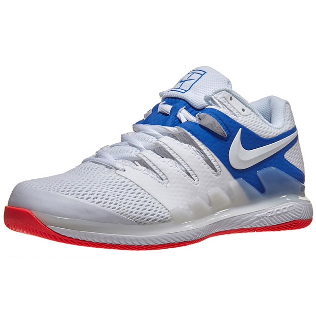 [나이키 남성용 에어 줌 베이퍼 10 테니스화] NIKE Men`s Air Zoom Vapor X Tennis Shoes - White and Game Royal