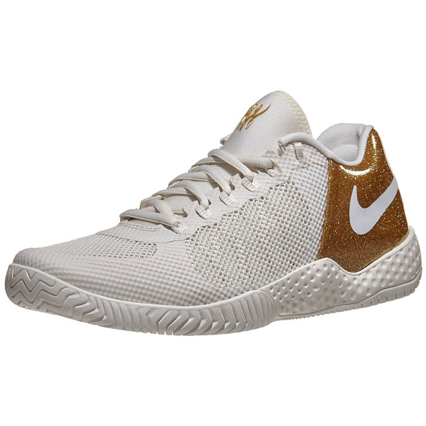 [나이키 여성용 코트 플레어 2 테니스화] NIKE Women`s Women`s Court Flare 2 Tennis Shoes - Phantom and Metallic Gold