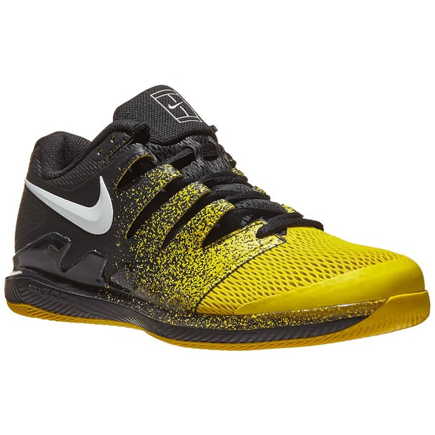 [나이키 남성용 에어 줌 베이퍼 10 테니스화] NIKE Men`s Air Zoom Vapor X Tennis Shoes - Black and Speed Yellow
