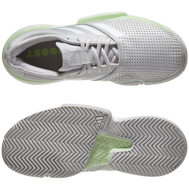 [아디다스 여성용 솔코트 부스트 테니스화] adidas Women`s Women`s SoleCourt Boost Tennis Shoes - Glow Green and White