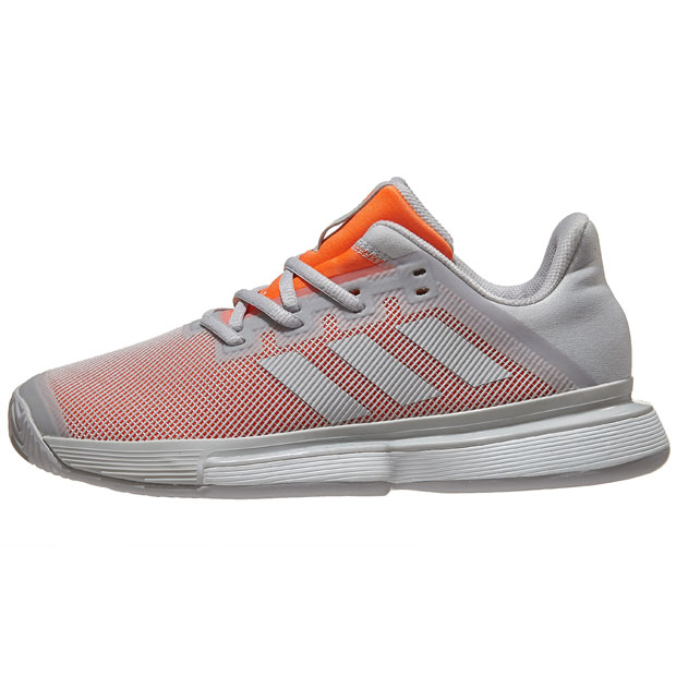 [아디다스 여성용 솔매치 바운스 테니스화]adidas Women`s SoleMatch Bounce Tennis Shoes - Solid Gray and Hi-Res Coral