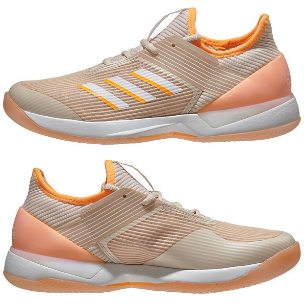[아디다스 여성용 아디제로 우버소닉 3 테니스화] adidas Women`s Adizero Ubersonic 3 Tennis Shoes - Linen and Flash Orange
