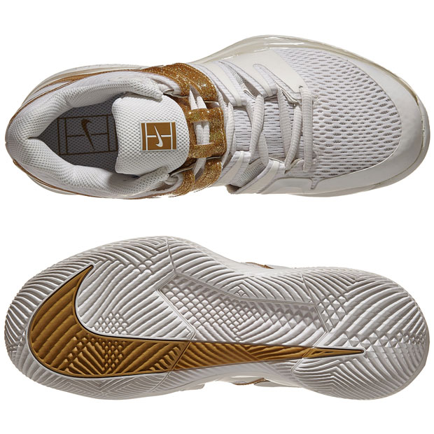 [나이키 여성용 에어 줌 베이퍼 X 테니스화] NIKE Women`s Air Zoom Vapor X Tennis Shoes - Phantom and Metallic Gold