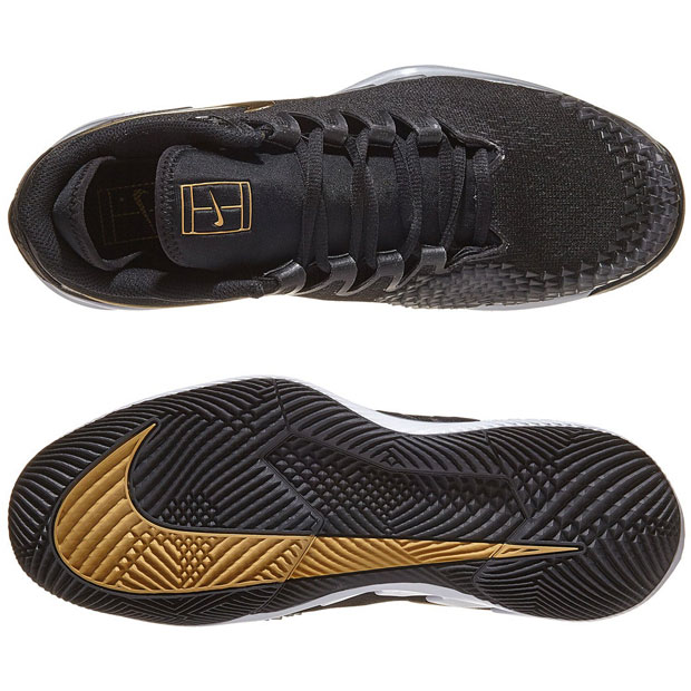 [나이키 남성용 에어 줌 베이퍼 X 니트 테니스화] NIKE Men`s Air Zoom Vapor X Knit Tennis Shoes - Black and Metallic Gold