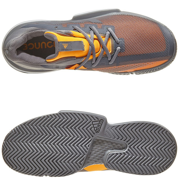[아디다스 남성용 솔매치 바운스 테니스화] Adidas Men`s SoleMatch Bounce Tennis Shoes - Gray Three and Solar Orange