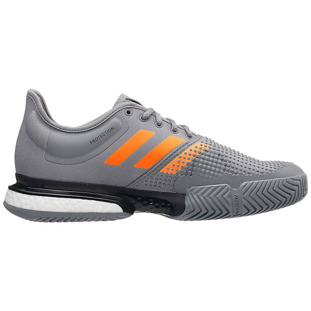 [아디다스 남성용 솔코트 부스트 테니스화] Adidas Men`s SoleCourt Boost Tennis Shoes - Gray Three and Flash Orange