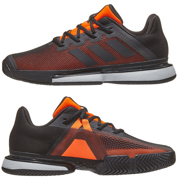 [아디다스 남성용 솔매치 바운스 테니스화] Adidas Men`s SoleMatch Bounce Tennis Shoes - Core Black and Solar Orange
