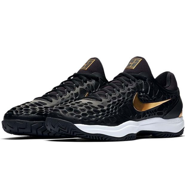[나이키 남성용 줌 케이지 3 테니스화] NIKE Men`s Zoom Cage 3 Tennis Shoes - Black and Metallic Gold