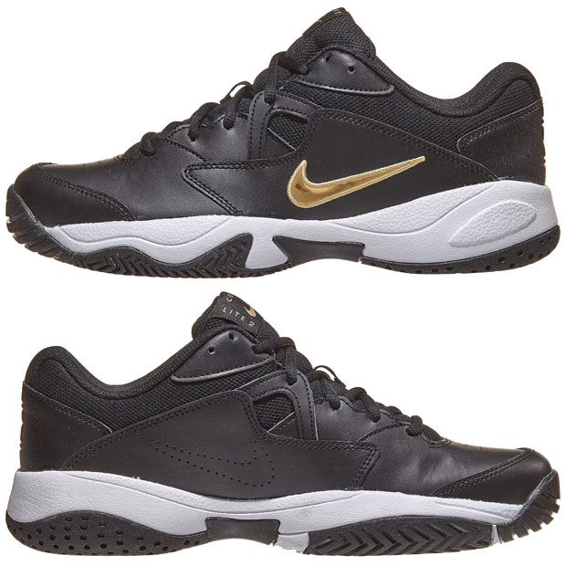 [나이키 남성용 코트 라이트 2 테니스화] NIKE Men`s Court Lite 2 Tennis Shoes - Black and Metallic Gold