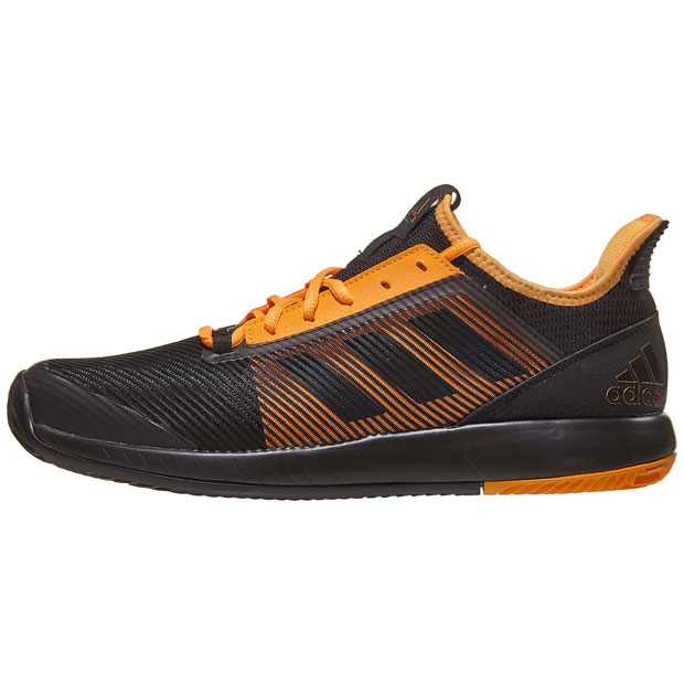 [아디다스 남성용 아디제로 디파이언트 바운스 2 테니스화] Adidas Men`s Adizero Defiant Bounce 2 Tennis Shoes - Core Black and Flash Orange