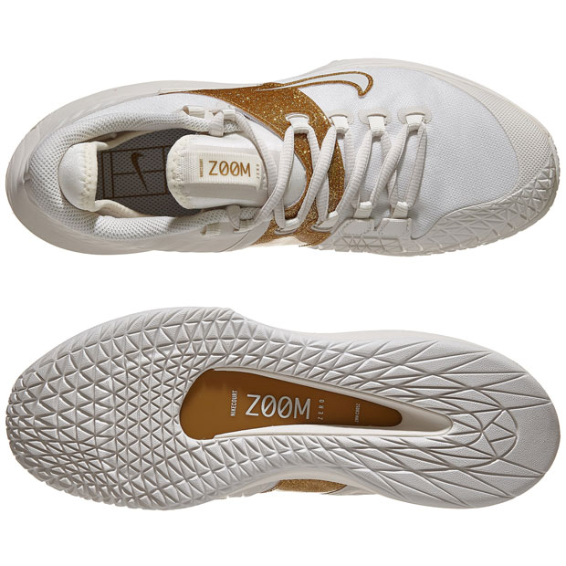 [나이키 여성용 코트 에어 줌 제로 테니스화] NIKE Women`s Court Air Zoom Zero Tennis Shoes - Phantom and Metallic Gold