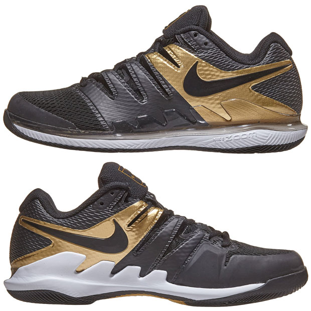 [나이키 남성용 에어 줌 베이퍼 10 테니스화] NIKE Men`s Air Zoom Vapor X Tennis Shoes - Black and Metallic Gold