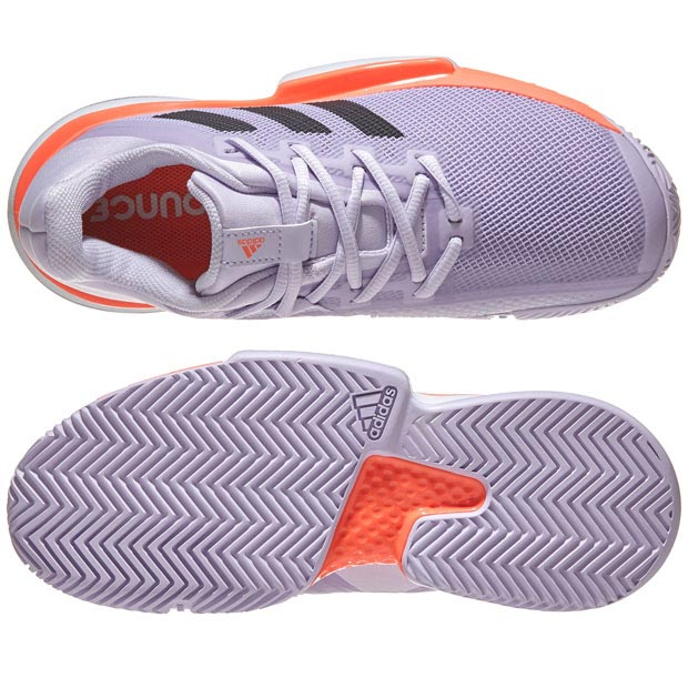 [아디다스 여성용 솔매치 바운스 테니스화]adidas Women`s SoleMatch Bounce Tennis Shoes - Purple Tint and Core Black