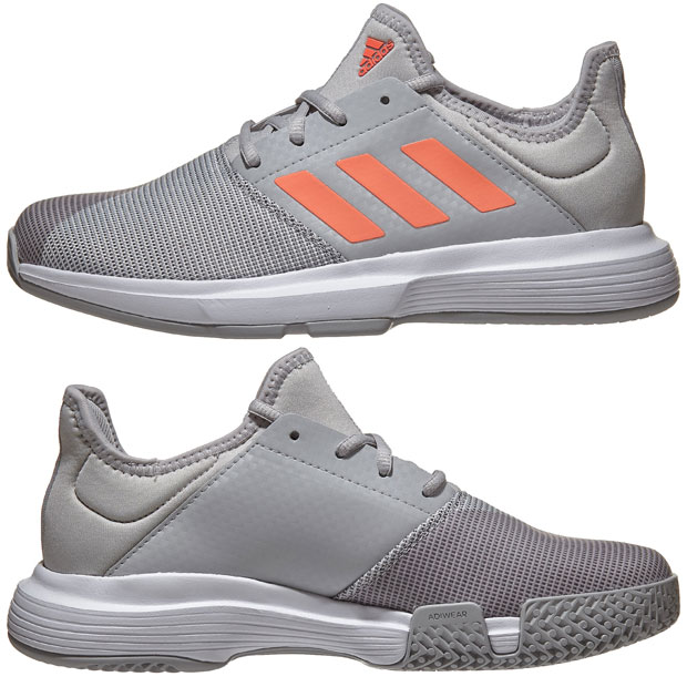 [아디다스 여성용 게임코트 테니스화] adidas Women`s GameCourt Tennis Shoes - Gray Two and Signal Coral