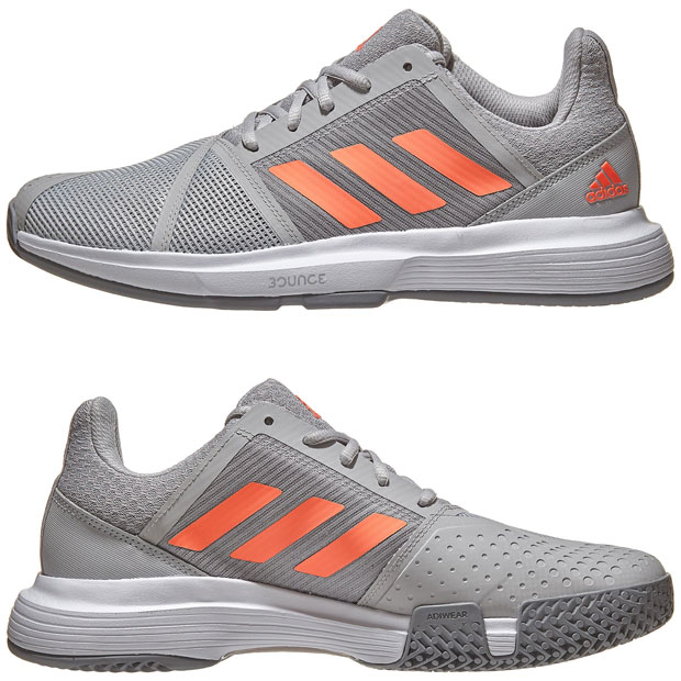[아디다스 남성용 코트잼 바운스 테니스화] Adidas Men`s CourtJam Bounce Tennis Shoes - Gray Two and Signal Coral