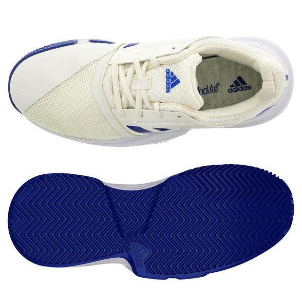 [아디다스 쥬니어 코트잼 XJ 테니스 신발] Adidas Juniors` CourtJam XJ Tennis Shoes - Off White and Team Royal
