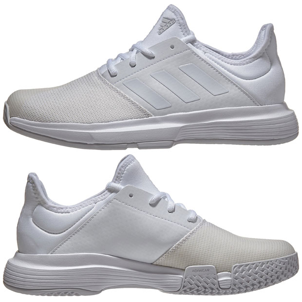 [아디다스 여성용 게임코트 테니스화] adidas Women`s GameCourt Tennis Shoes - White and Dash Gray