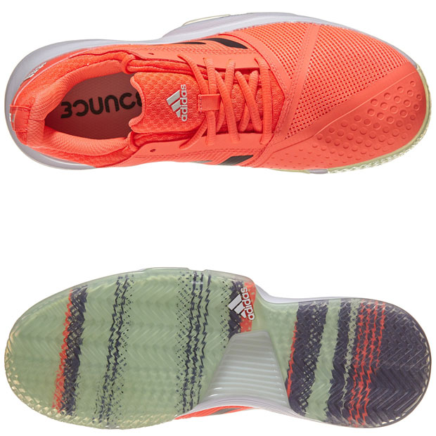 [아디다스 남성용 코트잼 바운스 테니스화] Adidas Men`s CourtJam Bounce Tennis Shoes - Signal Coral and Dash Green