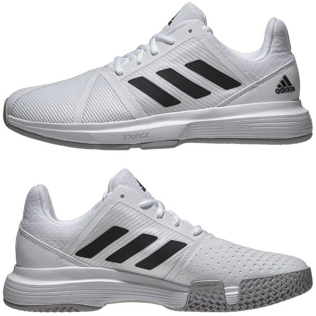 [아디다스 남성용 코트잼 바운스 테니스화] Adidas Men`s CourtJam Bounce Tennis Shoes - White and Core Black