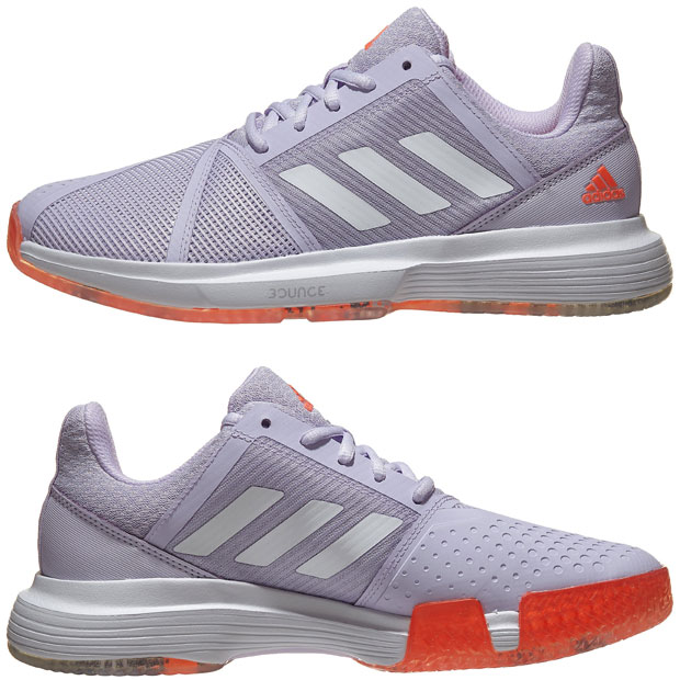 [아디다스 여성용 코트잼 바운스 테니스화] adidas Women`s CourtJam Bounce Tennis Shoes - Purple Tint and Signal Coral