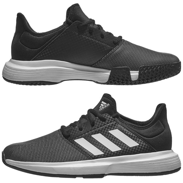 [아디다스 남성용 게임코트 테니스화] Adidas Men`s GameCourt Tennis Shoes - Core Black and White