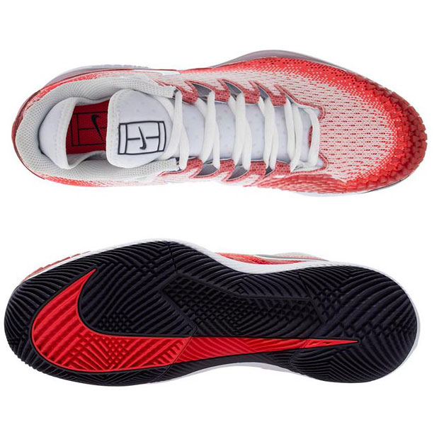 [나이키 남성용 에어 줌 베이퍼 X 니트 테니스화] NIKE Men`s Air Zoom Vapor X Knit Tennis Shoes - Laser Crimson and Gym Red