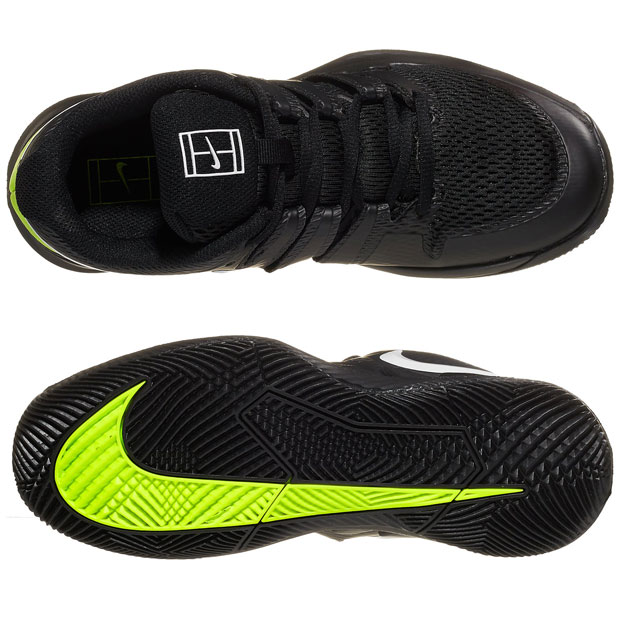 [나이키 쥬니어용 베이퍼 X 테니스화]NIKE Juniors` Vapor X Tennis Shoes - Black w/White and Volt