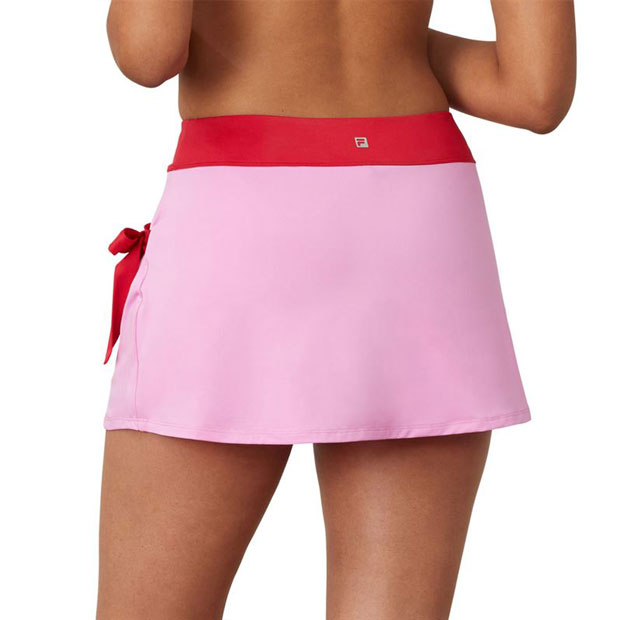 [휠라 여성용 30 Love 사이드 타이 13.5인치 테니스 스커트] FILA Women`s 30 Love Side Tie 13.5 Inch Tennis Skirt - Cyclamen w/ Crimson