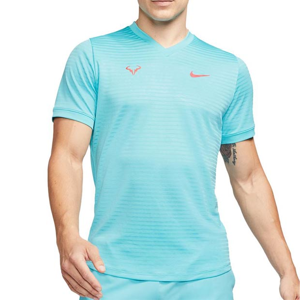 [나이키 남성용 라파 나달 코트 챌린저 SS 테니스 티셔츠] NIKE Men`s Rafa Court Challenger Short Sleeve Tennis Top - Polarized Blue