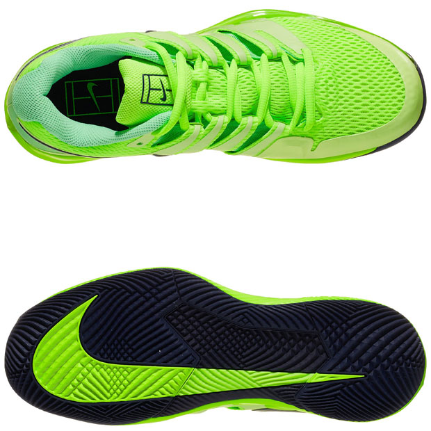 [나이키 남성용 에어 줌 베이퍼 10 테니스화] NIKE Men`s Air Zoom Vapor X Tennis Shoes - Ghost Green and Barely Volt