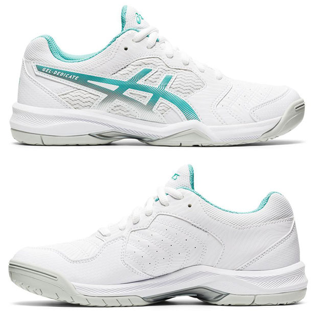 [아식스 여성용 젤 데디케이트 6 테니스화]ASICS Women`s GEL-Dedicate 6 Tennis Shoes - White and Techno Cyan