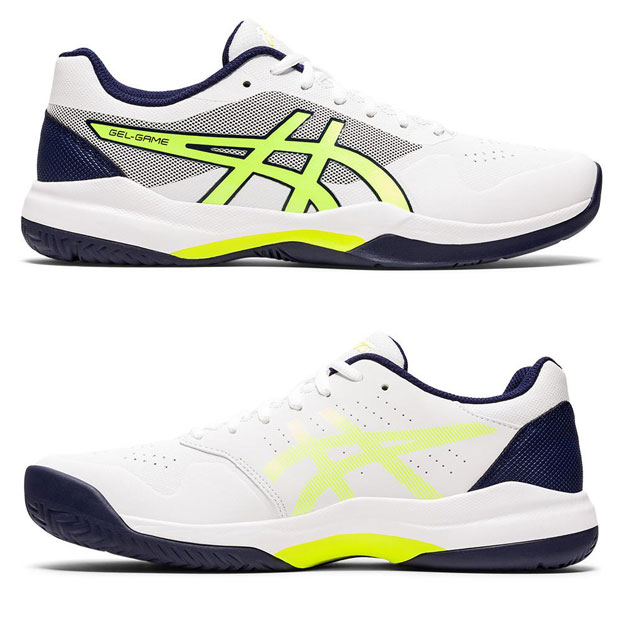 [아식스 남성용 젤-게임 7 테니스화] ASICS Men`s Gel-Game 7 Tennis Shoes - White and Safety Yellow