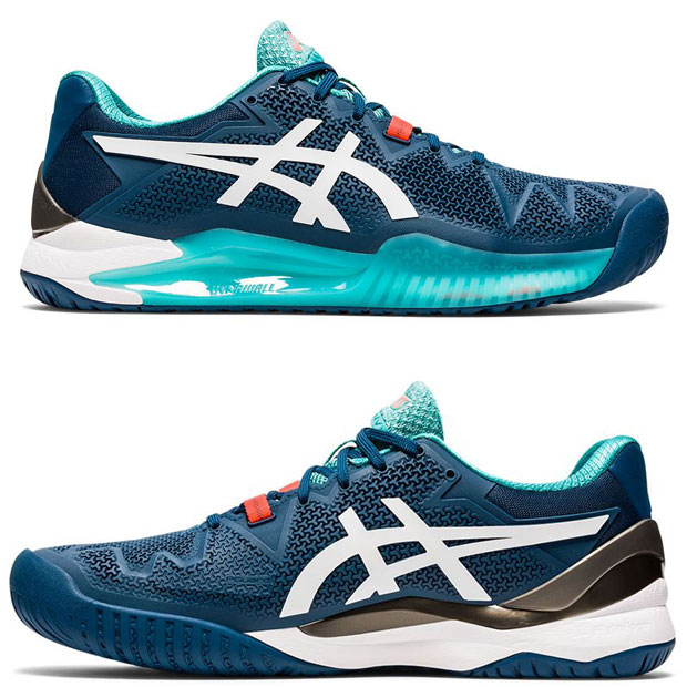 [아식스 남성용 젤 레졸루션 8 테니스화] ASICS Men`s GEL-Resolution 8 Tennis Shoes - Mako Blue and White