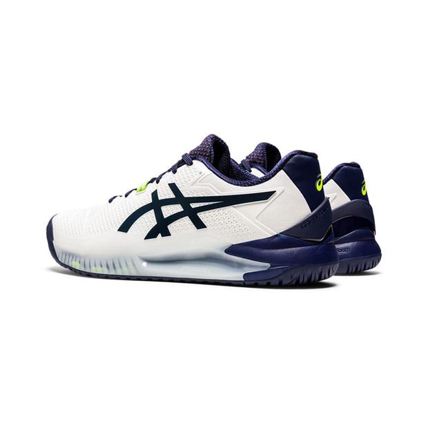 [아식스 남성용 젤 레졸루션 8 테니스화] ASICS Men`s GEL-Resolution 8 Tennis Shoes - White and Peacoat