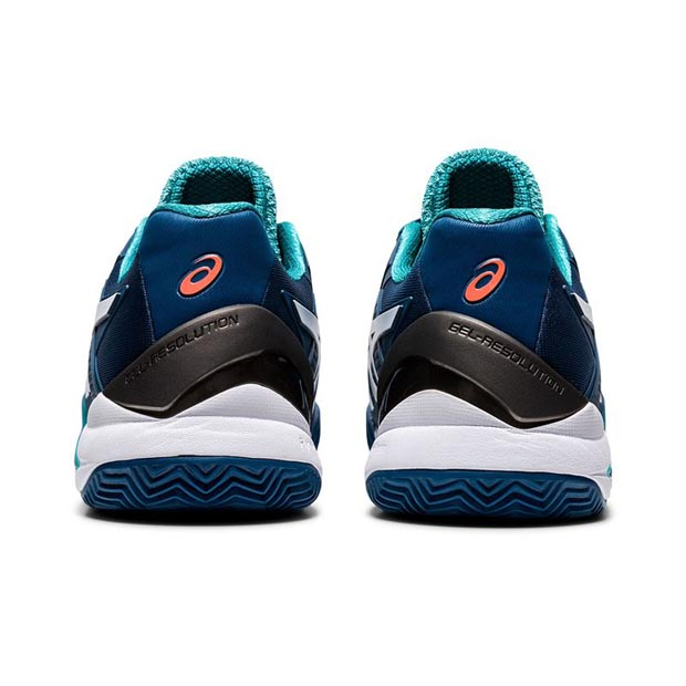 [아식스 남성용 젤 레졸루션 8 클레이용 테니스화] ASICS Men`s GEL-Resolution 8 Clay Tennis Shoes - Mako Blue and White