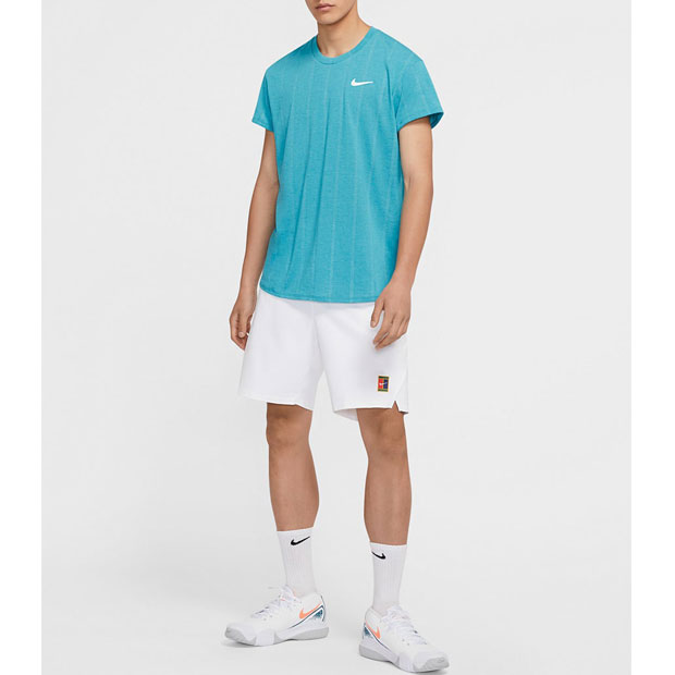 [나이키 남성용 코트 챌린저 SS 테니스 티셔츠] NIKE Men`s Court Challenger Short Sleeve Tennis Top - Neo Turq