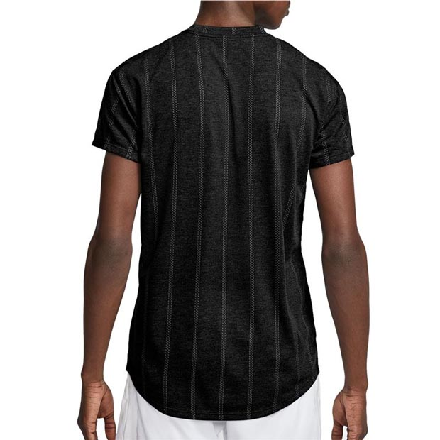 [나이키 남성용 코트 챌린저 SS 테니스 티셔츠] NIKE Men`s Court Challenger Short Sleeve Tennis Top - Black