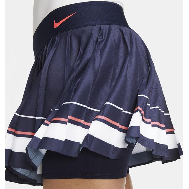 [나이키 여성용 마리아 코트 테니스 스커트] NIKE Women`s Maria Court Tennis Skirt - Blackened Blue and White