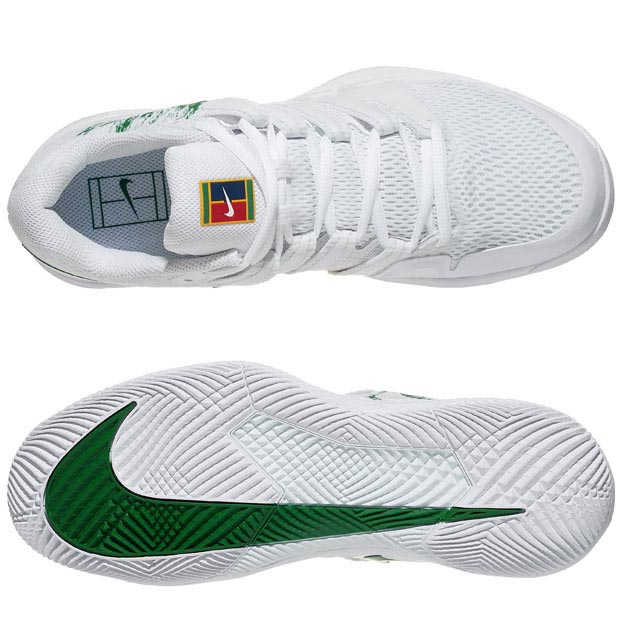 [나이키 남성용 에어 줌 베이퍼 10 테니스화] NIKE Men`s Air Zoom Vapor X Tennis Shoes - White and Clover