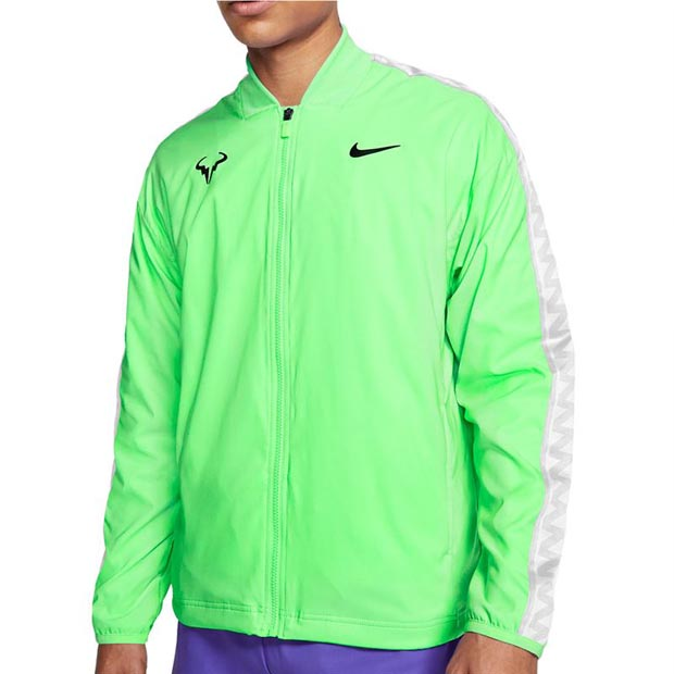 [나이키 남성용 라파 나달 코트 테니스 자켓] NIKE Men`s Rafa Court Tennis Jacket - Green Strike and Black