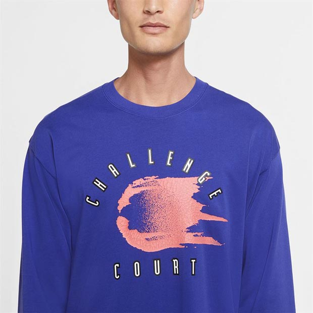 [나이키 남성용 코트 챌린지 긴소매 테니스 상의] NIKE Men`s Court Challenge Long Sleeve Tennis Top - Light Concord