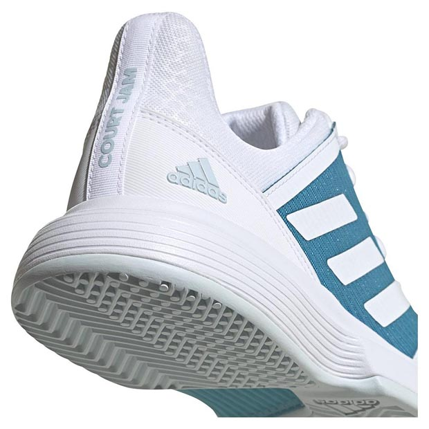 [아디다스 남성용 코트잼 바운스 테니스화] Adidas Men`s CourtJam Bounce Tennis Shoes - Footwear White and Hazy Blue