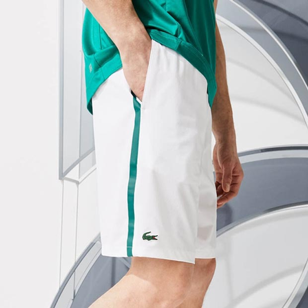 [라코스테 남성용 노박 스트레치 테니스 반바지] LACOSTE Men`s Novak Djokovic Breathable Stretch Tennis Short - White