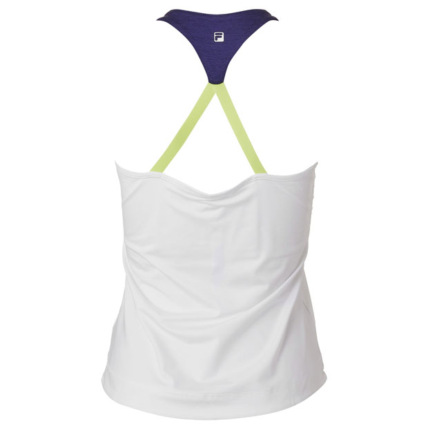 [휠라 여성용 Back Court 홀터 테니스 탱크] FILA Women`s Back Court Halter Tennis Tank - White