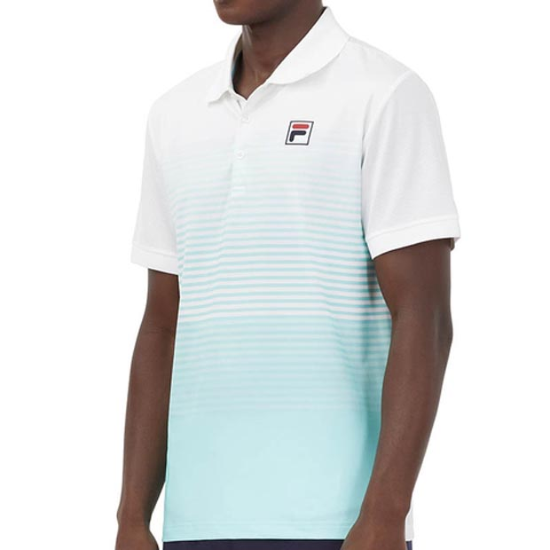[휠라 남성용 Legends 옴브레 스트라이프 테니스 폴로] FILA Men`s Legends Ombre Stripe Tennis Polo - White and Beach Glass