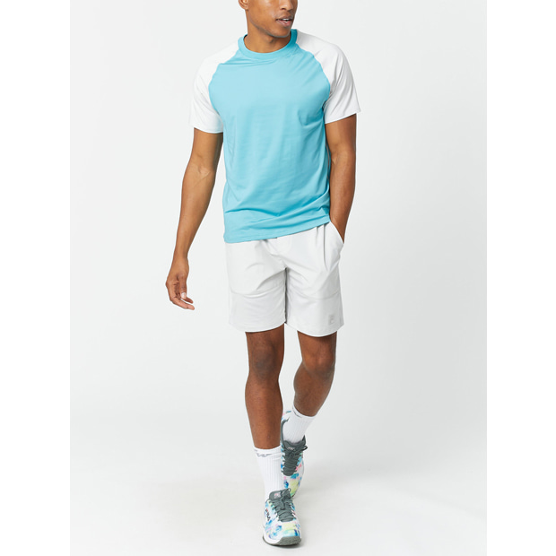 [휠라 남성용 Tie Breaker 컬러블럭 테니스 크루] FILA Men`s Tie Breaker Colorblock Tennis Crew - Maui Blue and Glacier Grey