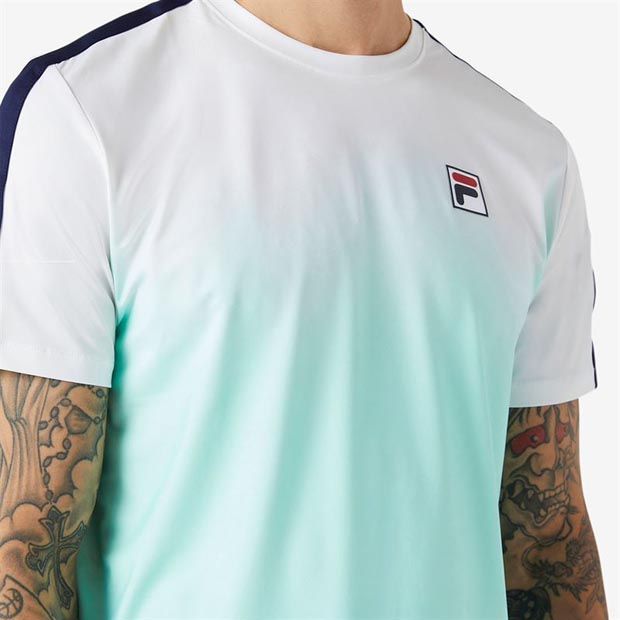 [휠라 남성용 Legends 옴브레 테니스 티셔츠] FILA Men`s Legends Ombre Tennis Crew - White and Beach Glass