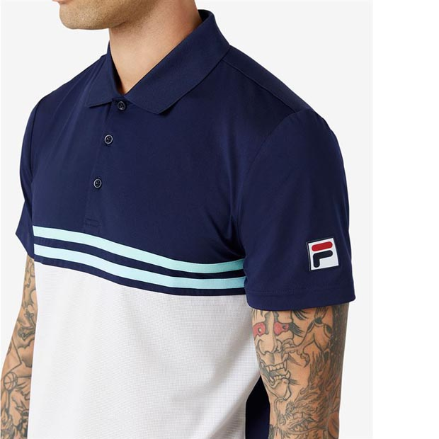 [휠라 남성용 Legends 랠리 테니스 폴로] FILA Men`s Legends Rally Tennis Polo - Navy and White
