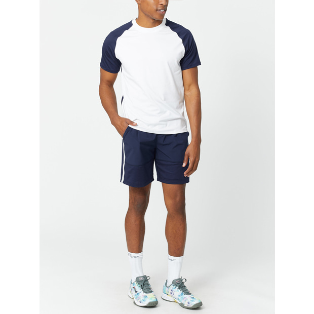 [휠라 남성용 Tie Breaker 컬러블럭 테니스 크루] FILA Men`s Tie Breaker Colorblock Tennis Crew - White and Navy